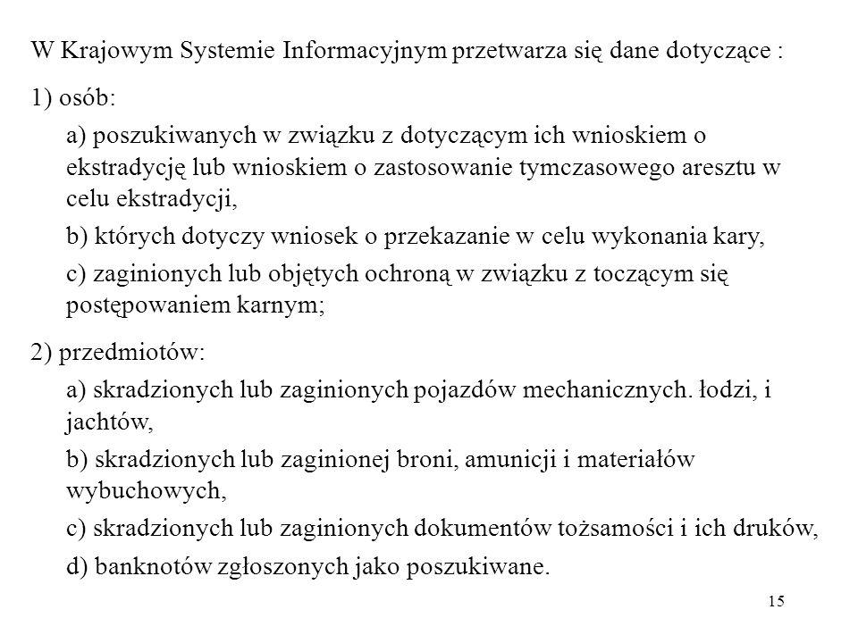 15 W Krajowym Systemie Informacyjnym przetwarza się dane dotyczące : 1) osób: a) poszukiwanych w związku z dotyczącym ich wnioskiem o ekstradycję lub