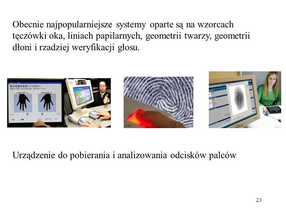 23 Obecnie najpopularniejsze systemy oparte są na wzorcach tęczówki oka, liniach papilarnych, geometrii twarzy, geometrii dłoni i rzadziej weryfikacji