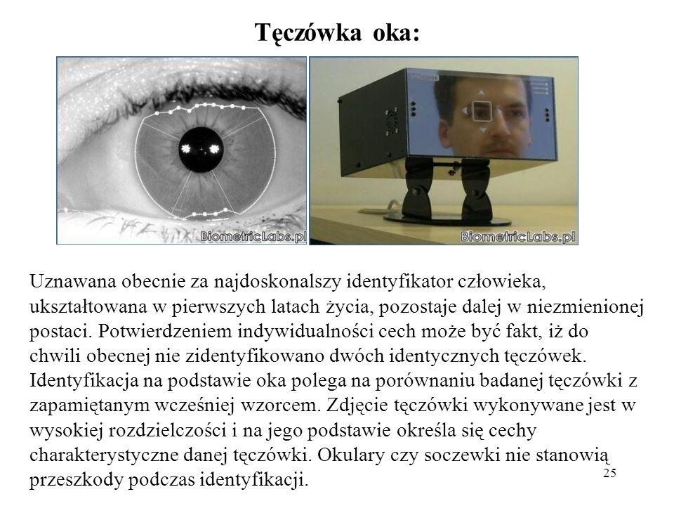25 Tęczówka oka: Uznawana obecnie za najdoskonalszy identyfikator człowieka, ukształtowana w pierwszych latach życia, pozostaje dalej w niezmienionej