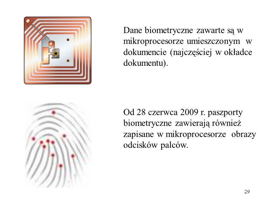 29 Dane biometryczne zawarte są w mikroprocesorze umieszczonym w dokumencie (najczęściej w okładce dokumentu). Od 28 czerwca 2009 r. paszporty biometr