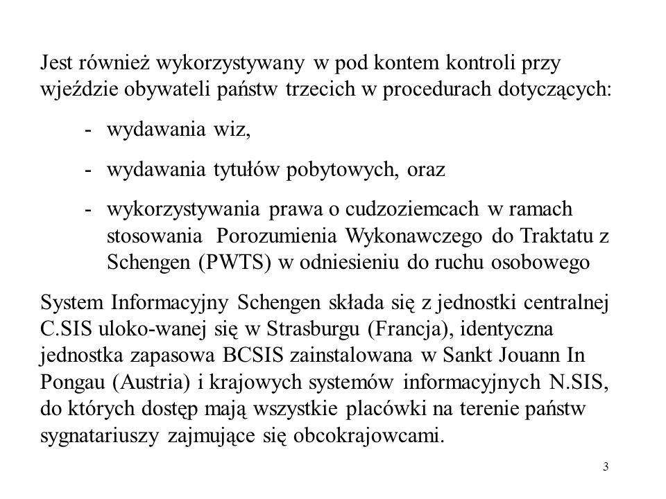 3 Jest również wykorzystywany w pod kontem kontroli przy wjeździe obywateli państw trzecich w procedurach dotyczących: - wydawania wiz, - wydawania ty