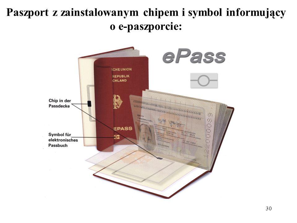 30 Paszport z zainstalowanym chipem i symbol informujący o e-paszporcie: