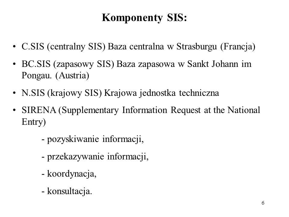 6 Komponenty SIS: C.SIS (centralny SIS) Baza centralna w Strasburgu (Francja) BC.SIS (zapasowy SIS) Baza zapasowa w Sankt Johann im Pongau. (Austria)