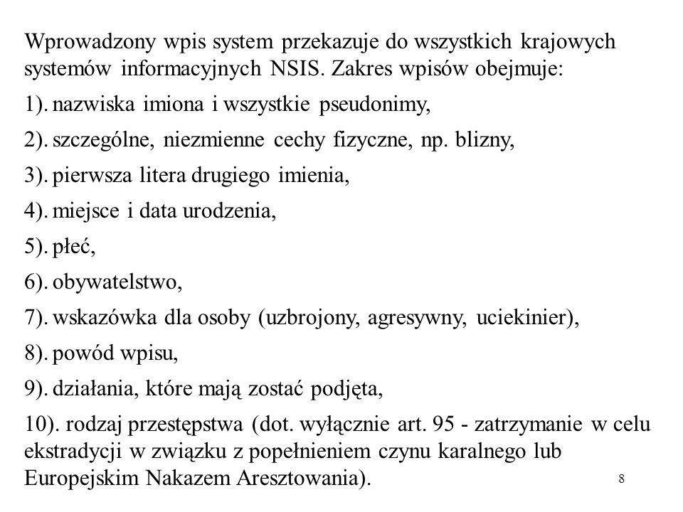 8 Wprowadzony wpis system przekazuje do wszystkich krajowych systemów informacyjnych NSIS. Zakres wpisów obejmuje: 1).nazwiska imiona i wszystkie pseu