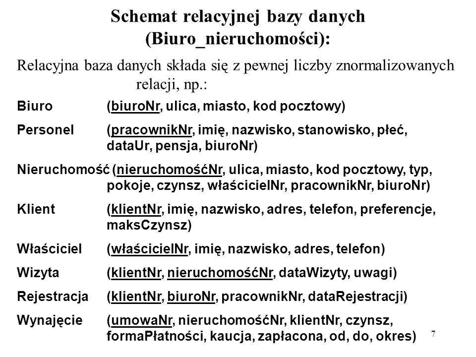 7 Schemat relacyjnej bazy danych (Biuro_nieruchomości): Relacyjna baza danych składa się z pewnej liczby znormalizowanych relacji, np.: Biuro(biuroNr,