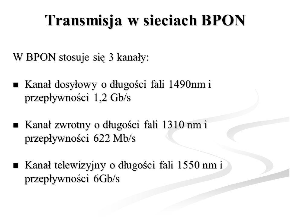 Transmisja w sieciach BPON W BPON stosuje się 3 kanały: Kanał dosyłowy o długości fali 1490nm i przepływności 1,2 Gb/s Kanał dosyłowy o długości fali