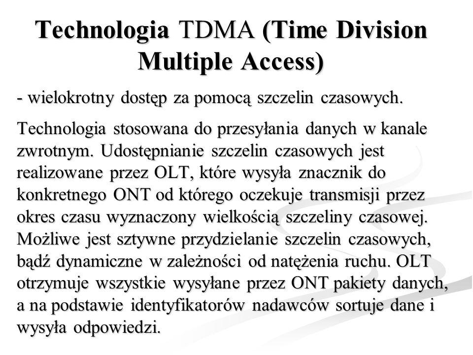 Technologia TDMA (Time Division Multiple Access) - wielokrotny dostęp za pomocą szczelin czasowych. Technologia stosowana do przesyłania danych w kana