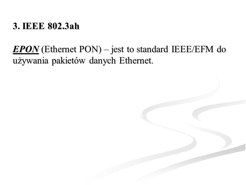 3. IEEE 802.3ah EPONEPON (Ethernet PON) – jest to standard IEEE/EFM do używania pakietów danych Ethernet. EPON