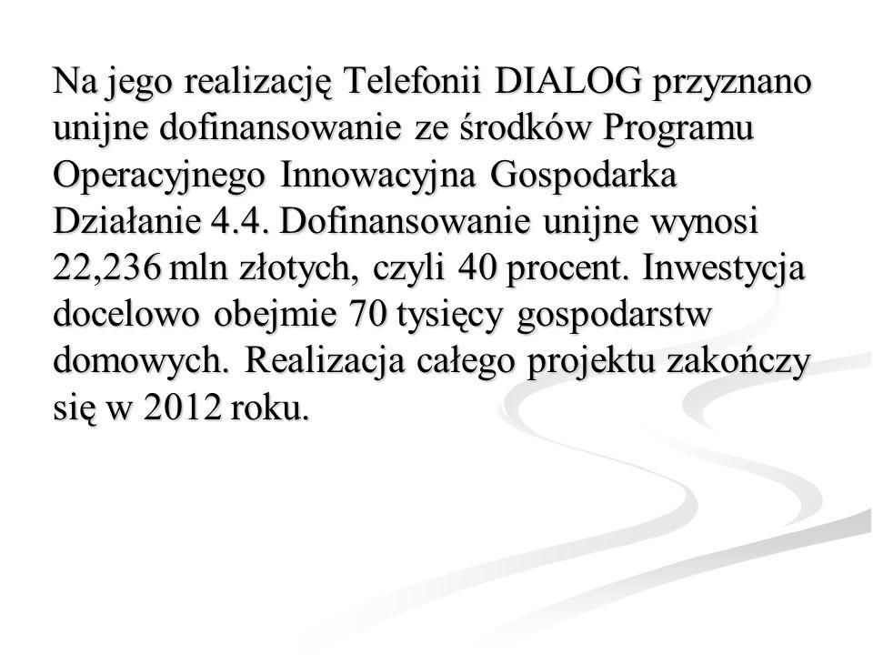 Na jego realizację Telefonii DIALOG przyznano unijne dofinansowanie ze środków Programu Operacyjnego Innowacyjna Gospodarka Działanie 4.4. Dofinansowa
