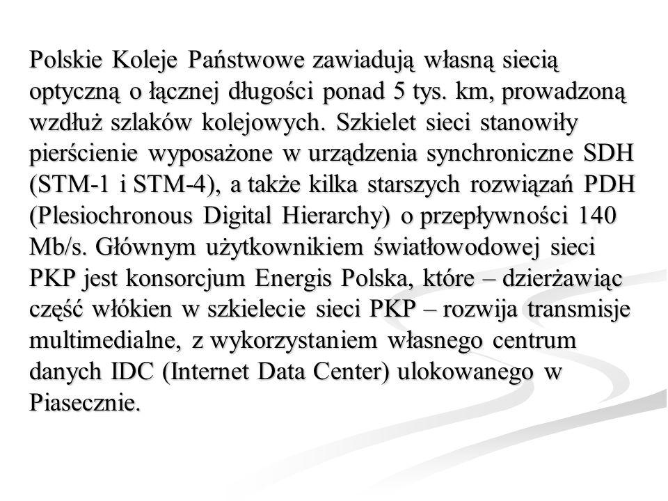 Polskie Koleje Państwowe zawiadują własną siecią optyczną o łącznej długości ponad 5 tys. km, prowadzoną wzdłuż szlaków kolejowych. Szkielet sieci sta