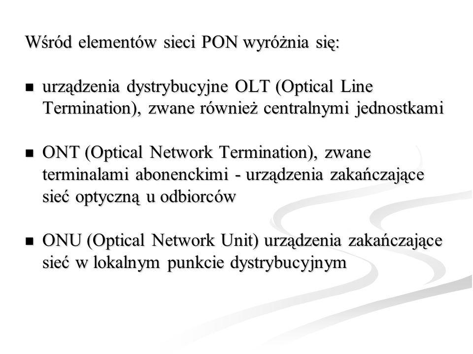 Wśród elementów sieci PON wyróżnia się: urządzenia dystrybucyjne OLT (Optical Line Termination), zwane również centralnymi jednostkami urządzenia dyst