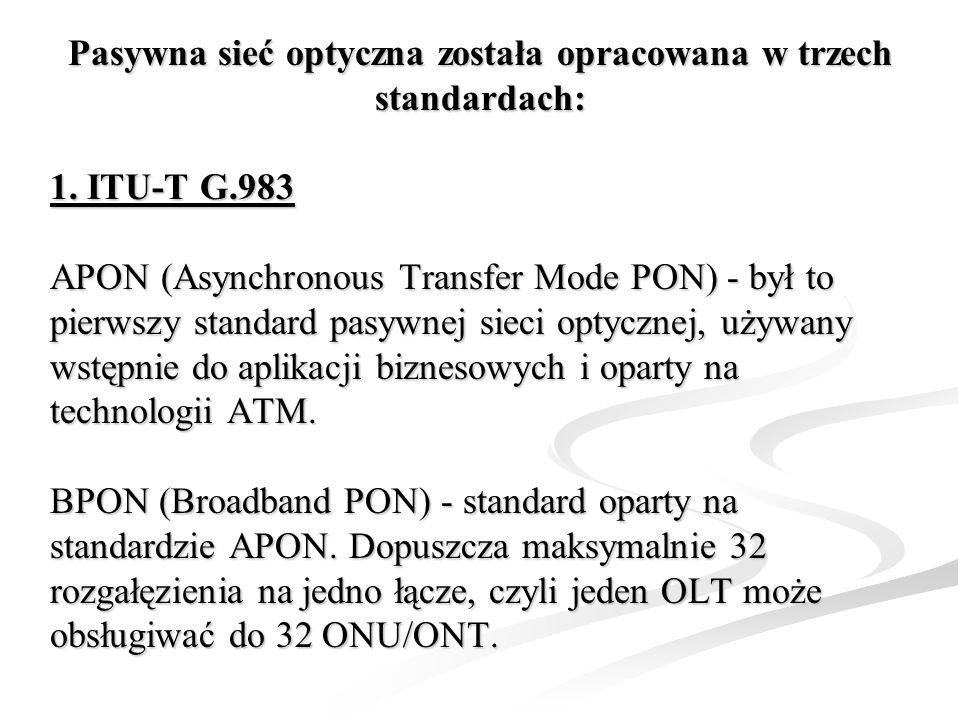 Pasywna sieć optyczna została opracowana w trzech standardach: 1. ITU-T G.983 APON (Asynchronous Transfer Mode PON) - był to pierwszy standard pasywne