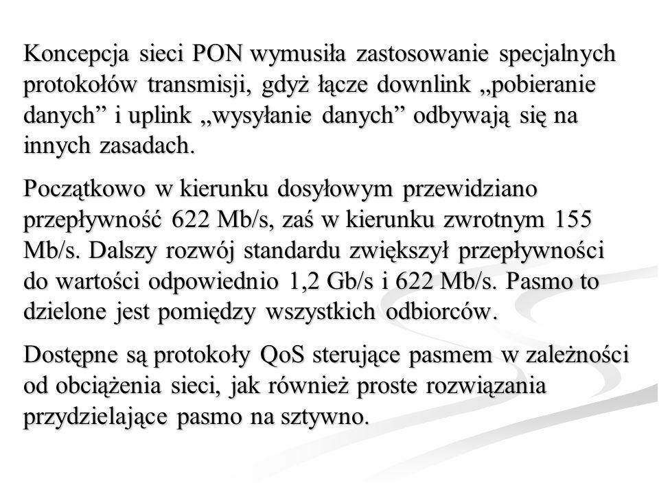 Koncepcja sieci PON wymusiła zastosowanie specjalnych protokołów transmisji, gdyż łącze downlink pobieranie danych i uplink wysyłanie danych odbywają