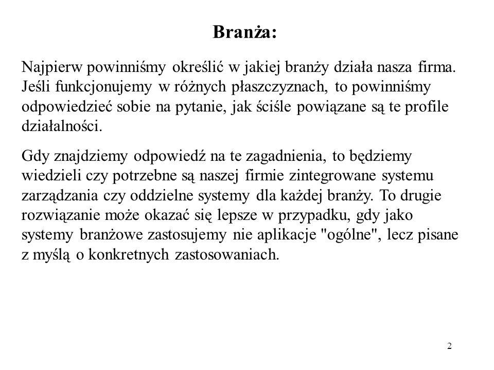 2 Branża: Najpierw powinniśmy określić w jakiej branży działa nasza firma.