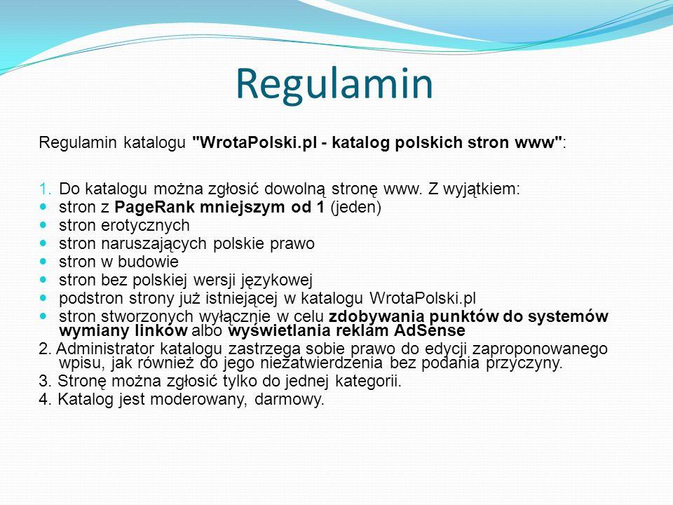 Regulamin Regulamin katalogu