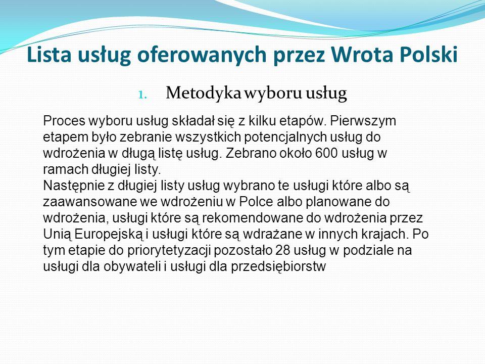 Lista usług oferowanych przez Wrota Polski 1. Metodyka wyboru usług Proces wyboru usług składał się z kilku etapów. Pierwszym etapem było zebranie wsz