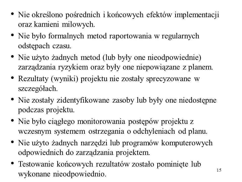 15 Nie określono pośrednich i końcowych efektów implementacji oraz kamieni milowych. Nie było formalnych metod raportowania w regularnych odstępach cz