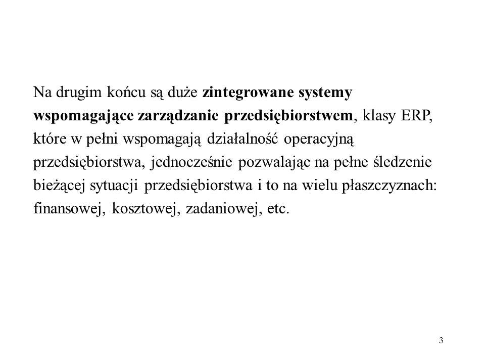 3 Na drugim końcu są duże zintegrowane systemy wspomagające zarządzanie przedsiębiorstwem, klasy ERP, które w pełni wspomagają działalność operacyjną