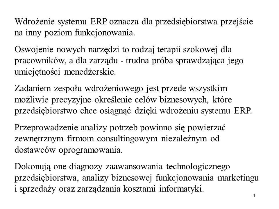 4 Wdrożenie systemu ERP oznacza dla przedsiębiorstwa przejście na inny poziom funkcjonowania. Oswojenie nowych narzędzi to rodzaj terapii szokowej dla
