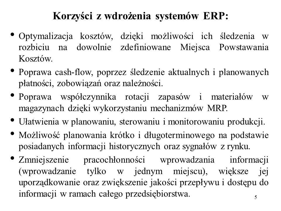 5 Korzyści z wdrożenia systemów ERP: Optymalizacja kosztów, dzięki możliwości ich śledzenia w rozbiciu na dowolnie zdefiniowane Miejsca Powstawania Ko