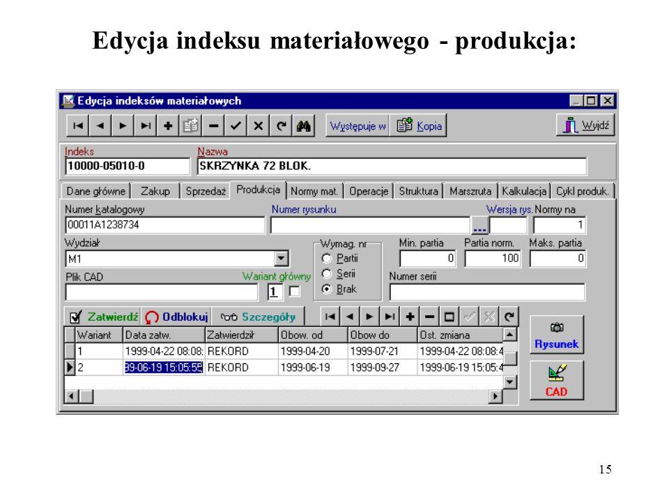 15 Edycja indeksu materiałowego - produkcja: