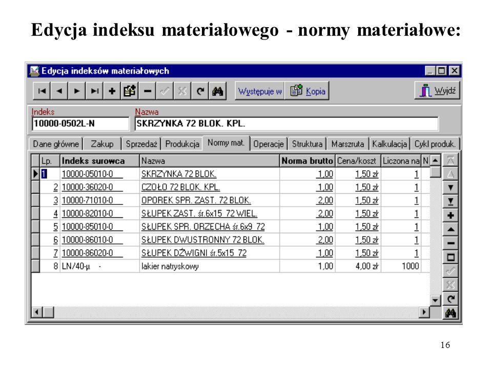 16 Edycja indeksu materiałowego - normy materiałowe: