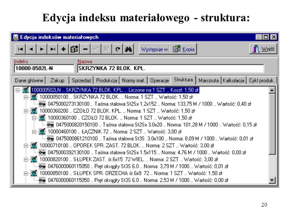 20 Edycja indeksu materiałowego - struktura: