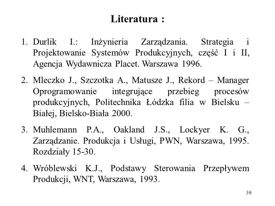 36 Literatura : 1.Durlik I.: Inżynieria Zarządzania.