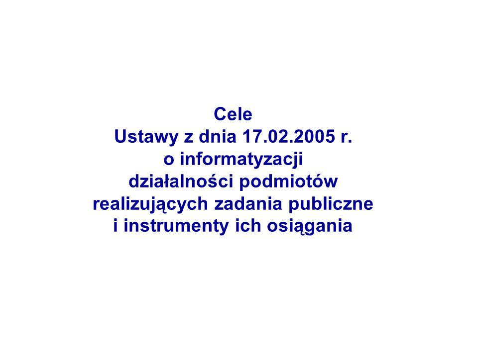Cele Ustawy z dnia 17.02.2005 r. o informatyzacji działalności podmiotów realizujących zadania publiczne i instrumenty ich osiągania