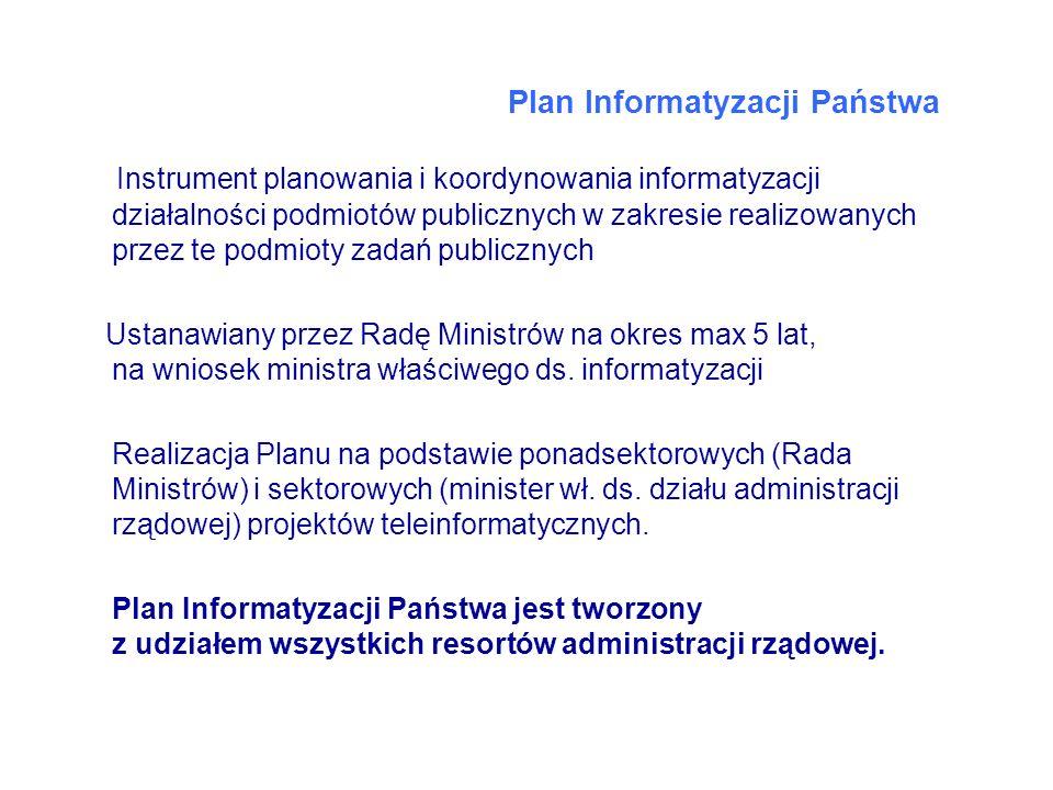 Plan Informatyzacji Państwa Instrument planowania i koordynowania informatyzacji działalności podmiotów publicznych w zakresie realizowanych przez te