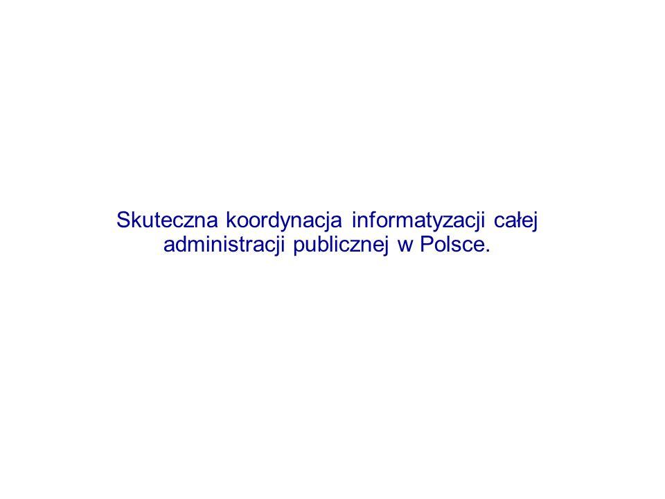 Skuteczna koordynacja informatyzacji całej administracji publicznej w Polsce.