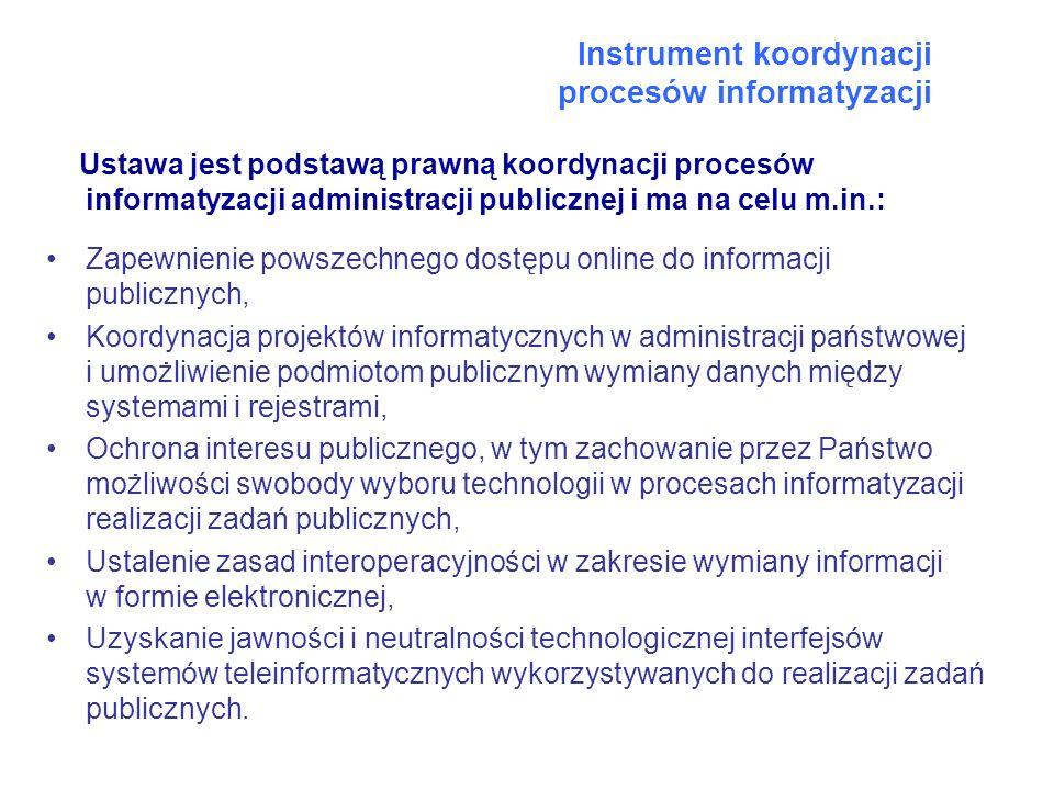 Instrument koordynacji procesów informatyzacji Ustawa jest podstawą prawną koordynacji procesów informatyzacji administracji publicznej i ma na celu m