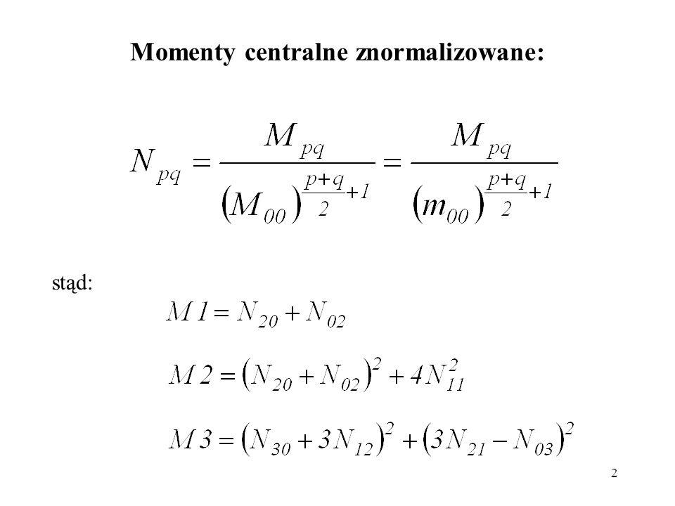 2 Momenty centralne znormalizowane: stąd:
