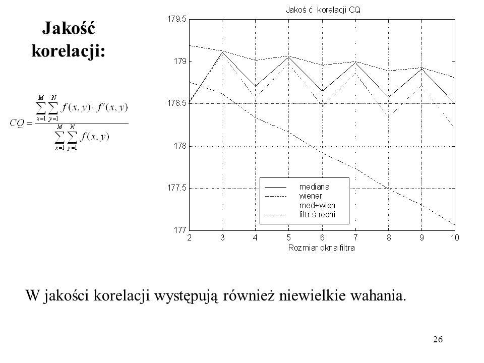 26 Jakość korelacji: W jakości korelacji występują również niewielkie wahania.