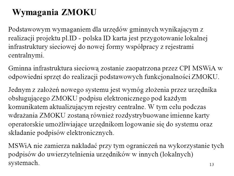 13 Wymagania ZMOKU Podstawowym wymaganiem dla urzędów gminnych wynikającym z realizacji projektu pl.ID - polska ID karta jest przygotowanie lokalnej i