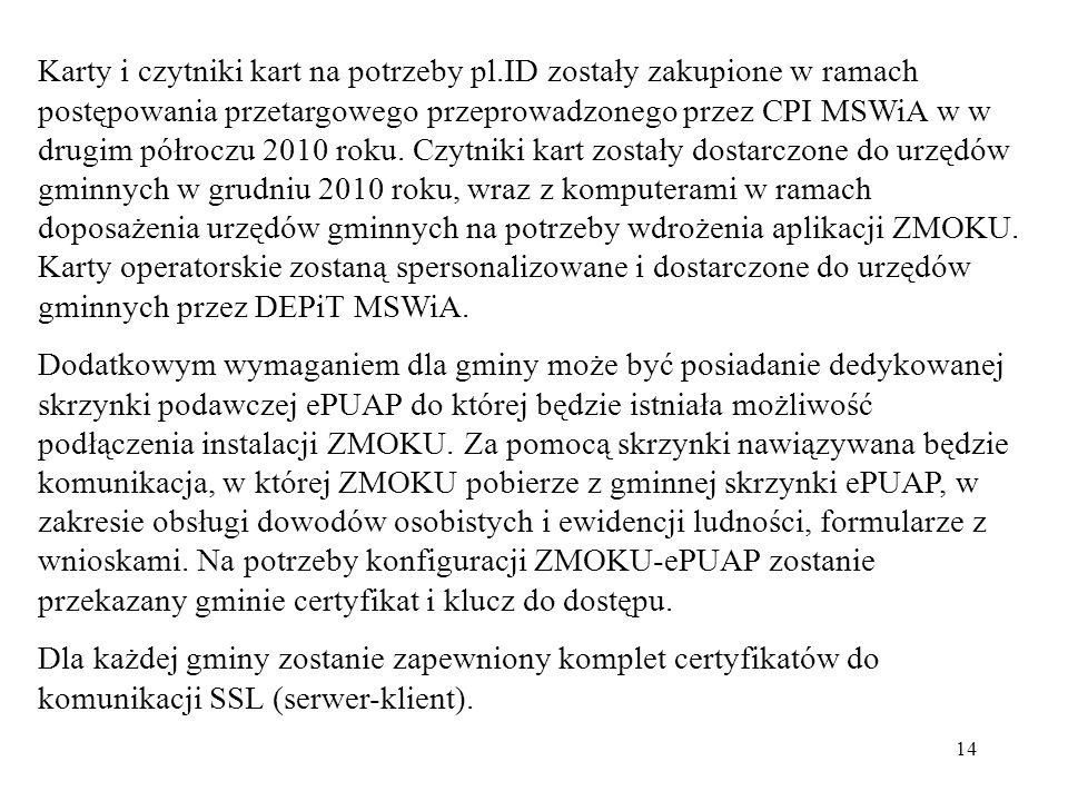 14 Karty i czytniki kart na potrzeby pl.ID zostały zakupione w ramach postępowania przetargowego przeprowadzonego przez CPI MSWiA w w drugim półroczu
