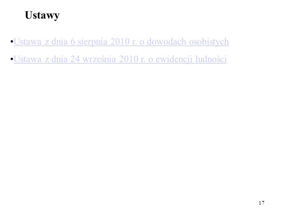 17 Ustawy Ustawa z dnia 6 sierpnia 2010 r. o dowodach osobistych Ustawa z dnia 24 września 2010 r. o ewidencji ludności