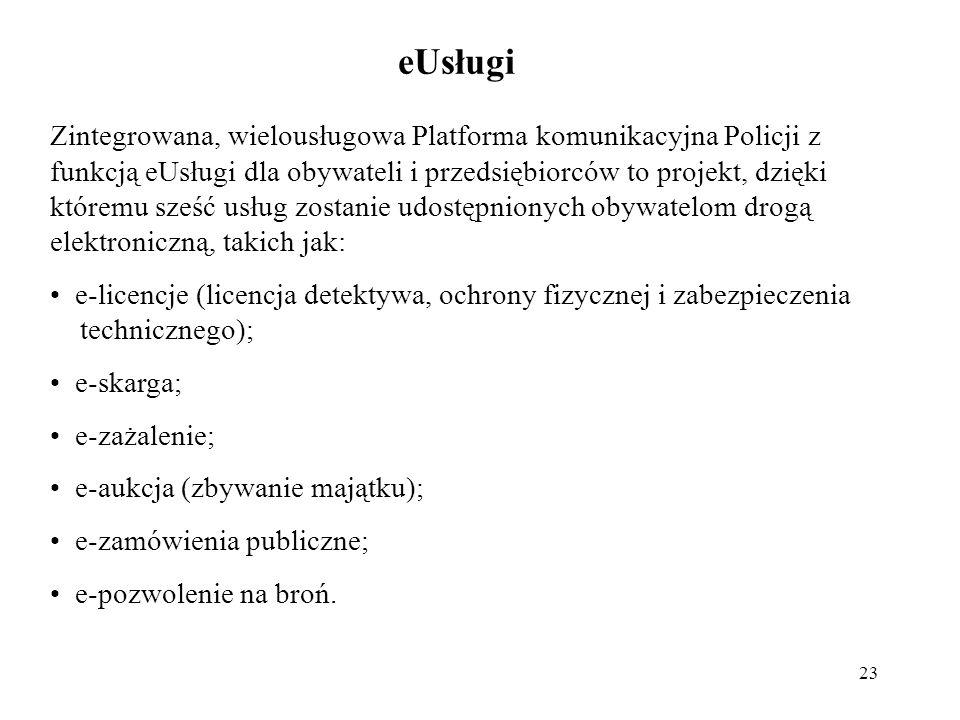 23 eUsługi Zintegrowana, wielousługowa Platforma komunikacyjna Policji z funkcją eUsługi dla obywateli i przedsiębiorców to projekt, dzięki któremu sz