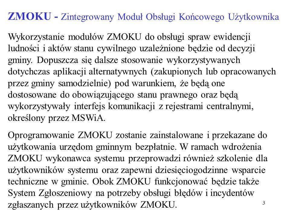 3 ZMOKU - Zintegrowany Moduł Obsługi Końcowego Użytkownika Wykorzystanie modułów ZMOKU do obsługi spraw ewidencji ludności i aktów stanu cywilnego uza