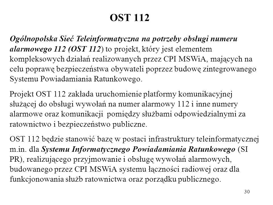 30 OST 112 Ogólnopolska Sieć Teleinformatyczna na potrzeby obsługi numeru alarmowego 112 (OST 112) to projekt, który jest elementem kompleksowych dzia