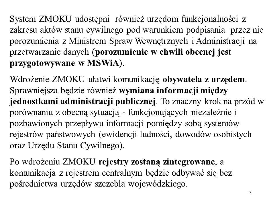 5 System ZMOKU udostępni również urzędom funkcjonalności z zakresu aktów stanu cywilnego pod warunkiem podpisania przez nie porozumienia z Ministrem S