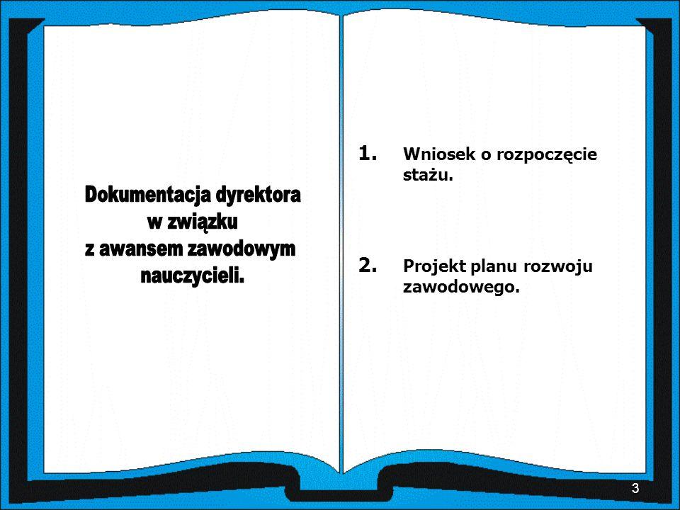 3 1. Wniosek o rozpoczęcie stażu. 2. Projekt planu rozwoju zawodowego.