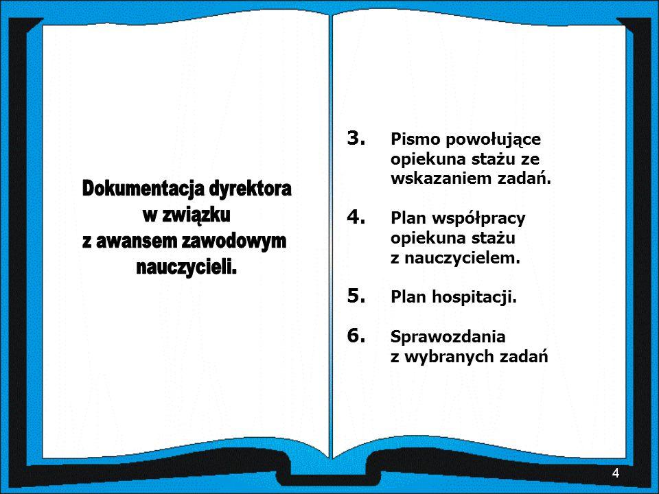 4 3. Pismo powołujące opiekuna stażu ze wskazaniem zadań. 4. Plan współpracy opiekuna stażu z nauczycielem. 5. Plan hospitacji. 6. Sprawozdania z wybr