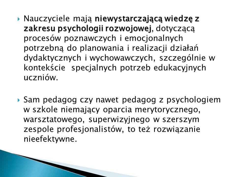 niewystarczającą wiedzę z zakresu psychologii rozwojowej Nauczyciele mają niewystarczającą wiedzę z zakresu psychologii rozwojowej, dotyczącą procesów