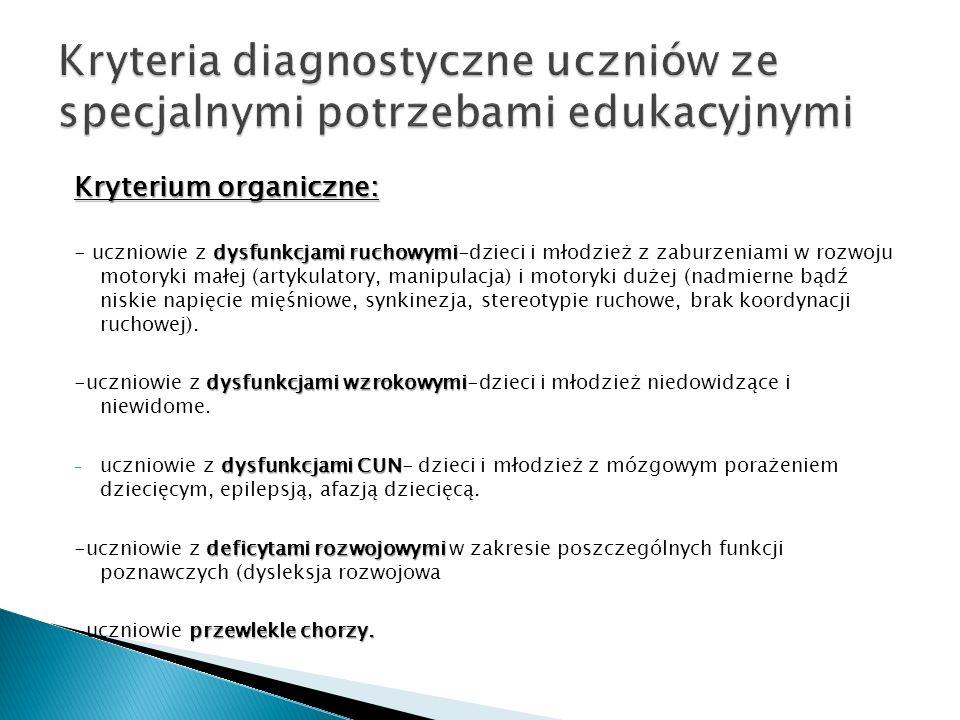 Kryterium organiczne: dysfunkcjami ruchowymi - uczniowie z dysfunkcjami ruchowymi-dzieci i młodzież z zaburzeniami w rozwoju motoryki małej (artykulat