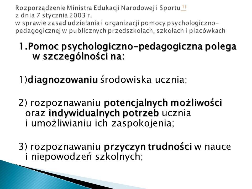 1.Pomoc psychologiczno-pedagogiczna polega w szczególności na: diagnozowaniu 1)diagnozowaniu środowiska ucznia; potencjalnych możliwości indywidualnyc