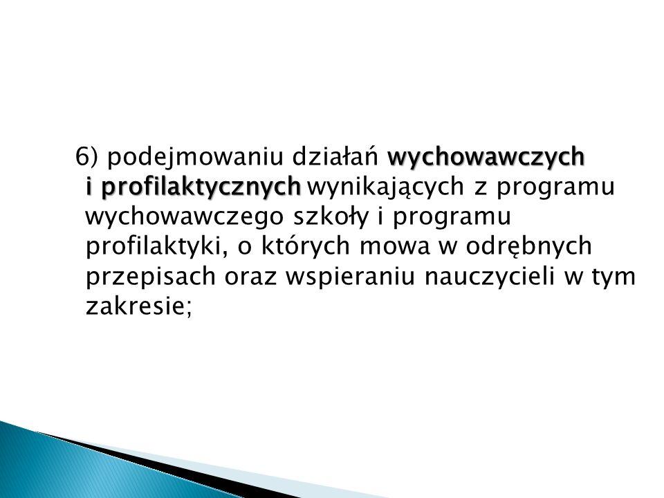 wychowawczych i profilaktycznych 6) podejmowaniu działań wychowawczych i profilaktycznych wynikających z programu wychowawczego szkoły i programu prof