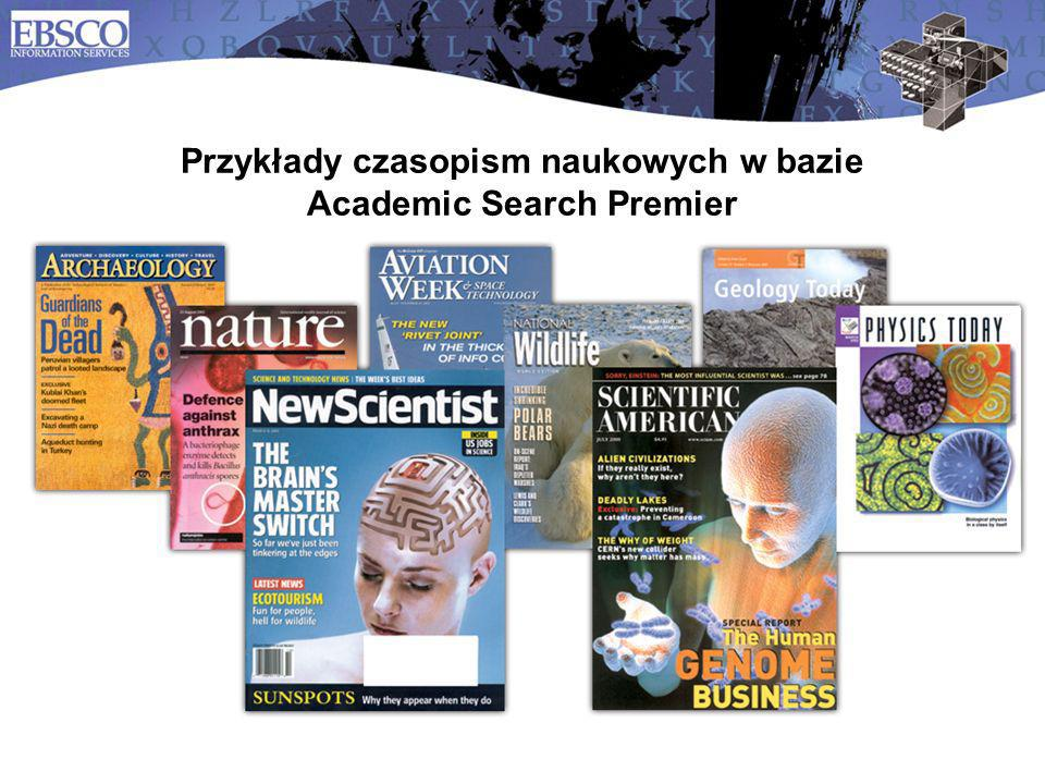 12 Przykłady czasopism naukowych w bazie Academic Search Premier