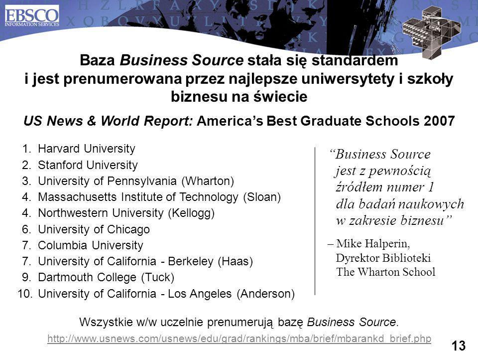 13 Baza Business Source stała się standardem i jest prenumerowana przez najlepsze uniwersytety i szkoły biznesu na świecie US News & World Report: Ame