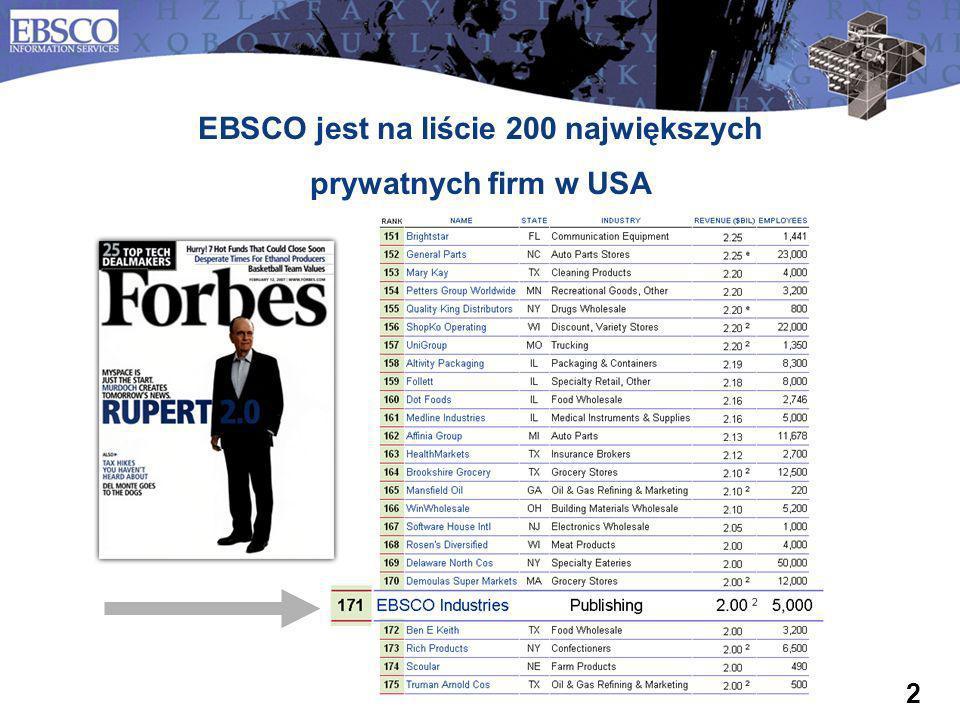 2 EBSCO jest na liście 200 największych prywatnych firm w USA